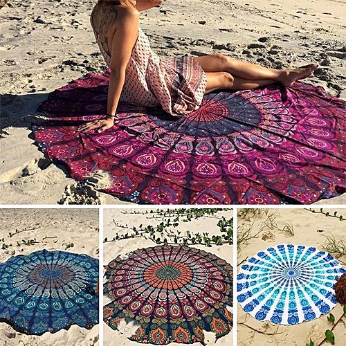 Honana WX-16 150cm Bohemian Thin Chiffon Beach Towel Mat Mandala Round Silk Scarf Bed Sheet Tapestry