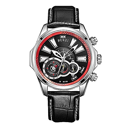 BUREI Men's Watch Sports Watch Treasure Shuttle Belt Waterproof Stainless Steel Watch Quartz Men's Watch (WhiteRed) By HonTai