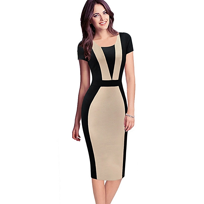 Office Dress For Ladies Womens Elegant Vintage Contrast Colorblock Slim  Belted Patchwork Casual Wear To Work 018b8831f51a