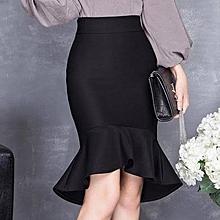 b51fce081 Dazen Collections Midi Bodycon High Low Black Peplum Skirt