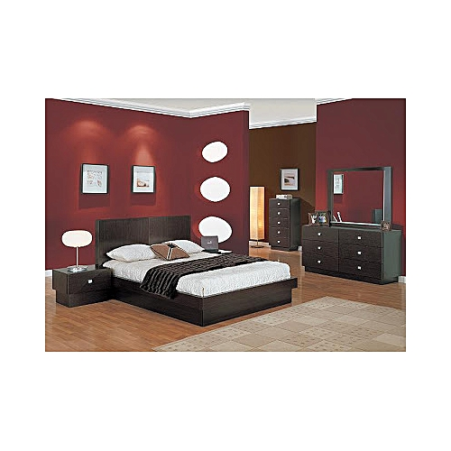 FULL BEDROOM SET OF 6 BY 7 BED, MIRROR DRESSER, BEDSIDE & CONSOLE TABLE