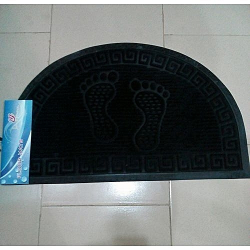 Moon Shaped Foot Mat- Black Assorted Design