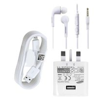 USB Charger For Samsung Phones PLUS Earpiece -  White