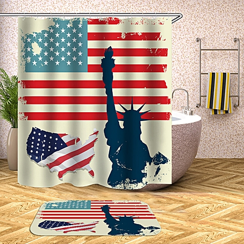 American Flag Non-Slip Rug Toilet Lid Cover Shower Curtain
