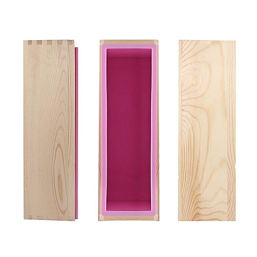Rectangle Silicone Liner Soap Mould Wooden Box DIY Making Tool Mold