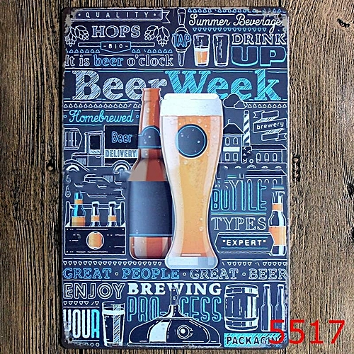Bar Cafe Wall Decor Cocktail Beer Metal Poster Tin Sign Wall Hanging Home Decor