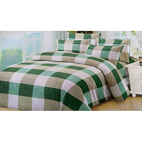 Green And White(with Faded Beige) Squared Bed Set