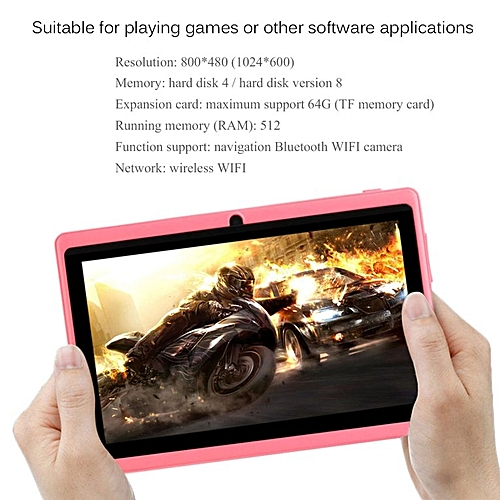 TA-7 Inch TFT Display HD 1080P Quad Core Dual Camera 512M+8G Tablet For Android*Pink