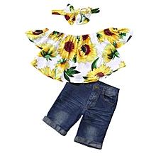 afd8897d69a09 3Pcs Baby Kids Girls Off Shoulder Crop Tops+Denim Shorts Jean+Headband  Clothes Set