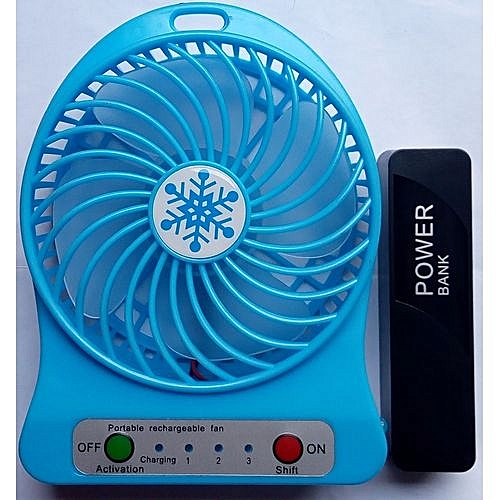 USB Mini Fan With Rechargeable 4500mah Power Bank