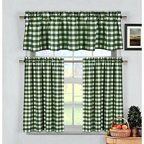 3pcs Green Checkers Kitchen curtain