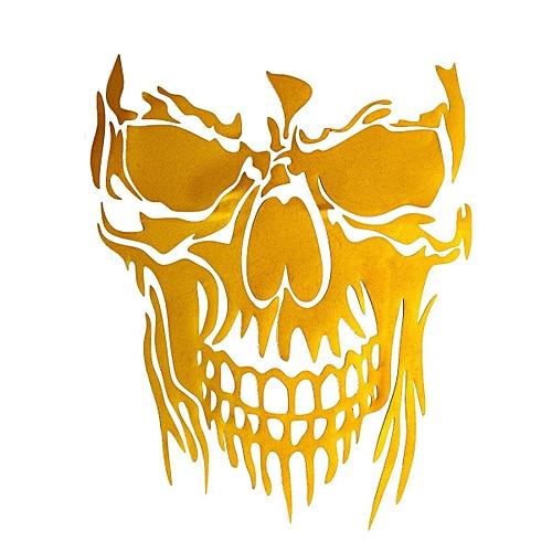 Cool Skull Vinyl Decal Sticker Car Truck Trailer Room Window Door Yellow