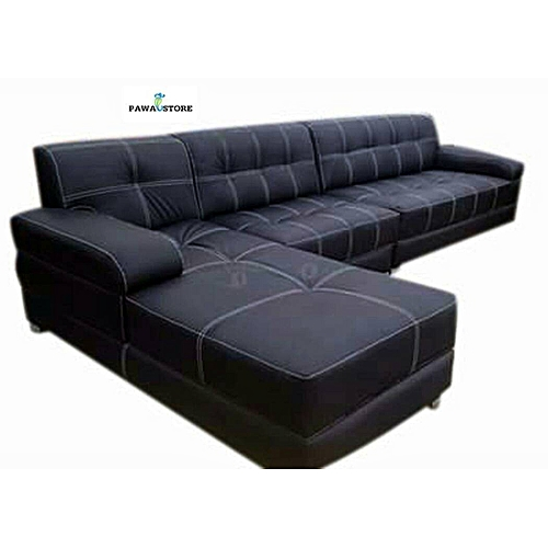 PAWA FURNITURE NEW 7 Seater BLACK LEATHER L SHAPE. 'ORDER NOW AND GET A FREE OTTOMAN' (Delivery To Lagos Only)
