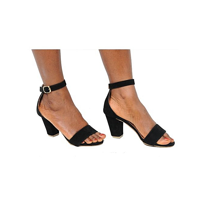 018c589231a Ladies Ankle Strap Shoes Moderate Block Heel Sandal-Black