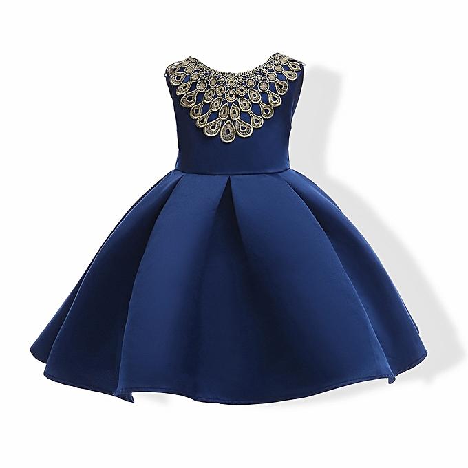 Buy fashion girl dress kids ruffles lace party wedding dresses blue girl dress kids ruffles lace party wedding dresses blue junglespirit Gallery