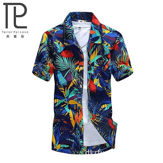 6e37646a67d Mens Hawaiian Shirt Quick Dry Printed Beach Shirts Short Sleeve Loose-blue