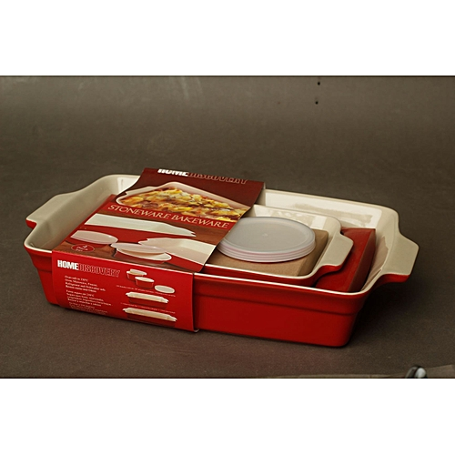 4Piece Stoneware Bakeware Set - Red
