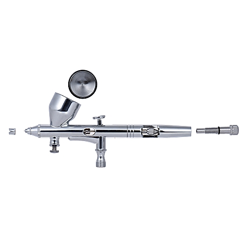 Gravity Feed Dual-action Airbrush Air Brush Kit Set Spray Gun With Air Hose 0.2mm/0.3mm/0.5mm Needle Nozzle 9cc Color Cup For Model Coloring Painting Tattoo Cake Decorating Nail Beauty Makeup