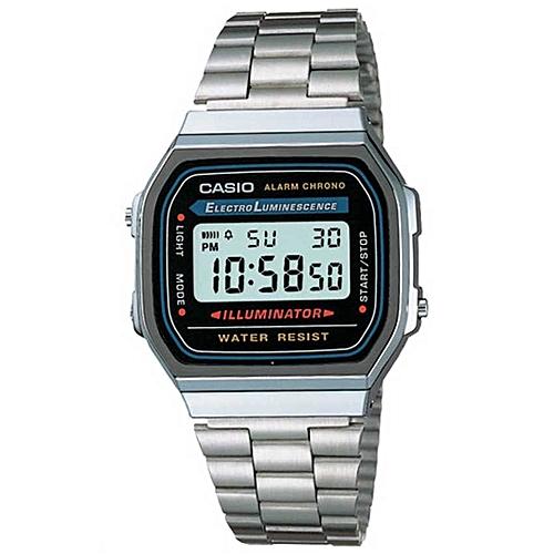 Casio A168W-1 Men's Stainless Classic Steel Wrist Watch - Silver