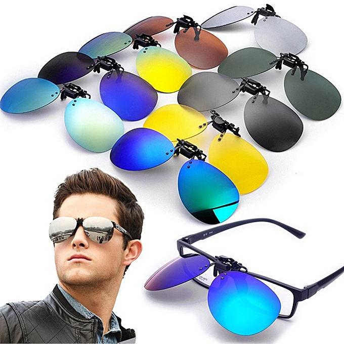 b518d974df Polarized Clip On Sunglasses Lens Fishing Night Driving UV400 Black+Grey