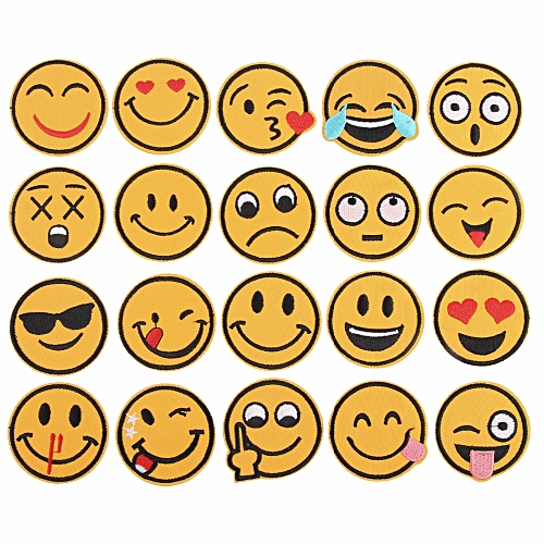 20Pcs/Set Mixed Emoji Iron On Embroidery Patches For Clothing Jeans Jacket Kids Patches Stripes