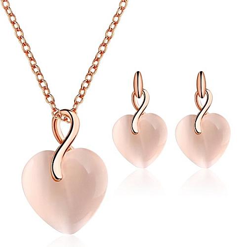 Peach Heart Shaped Opal Gold Necklace Earring Set Woman Pendant Necklace Golden