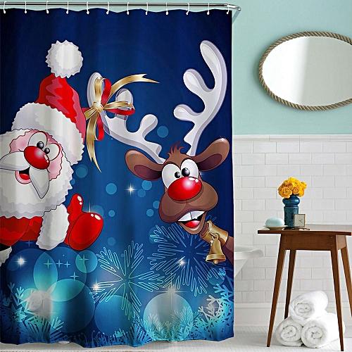 Bathroom Curtain Xmas Shower Curtain 180*180cm Colorful Mouldproof Christmas Waterproof 3D Digital Printed