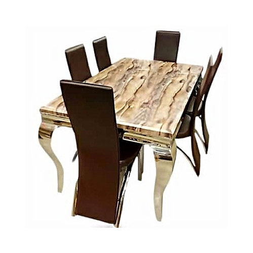 Oxlyngames 6-Seater Marble Dining Set - Brown (Delivery Within Lagos & Ogun Only)
