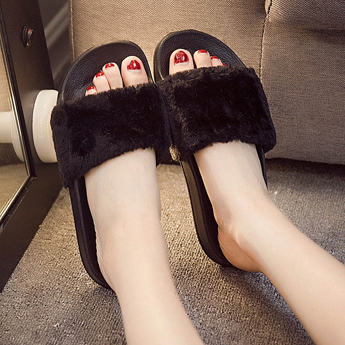 7b971a3ac Womens Ladies Slip On Sliders Fluffy Faux Fur Flat Slipper Flip Flop Sandal