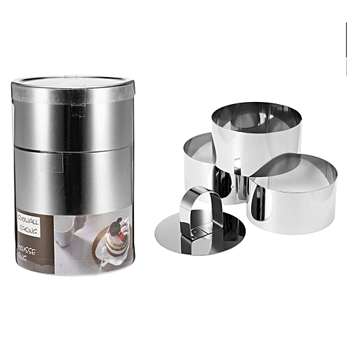 Andrew James Stainless Steel Food Cooking Rings 6cm X 4cm, Pusher & Lifter