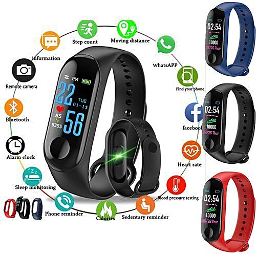 M3 Smart Watch Fitness Band With Blood Pressure Heart Rate Monitor - Black