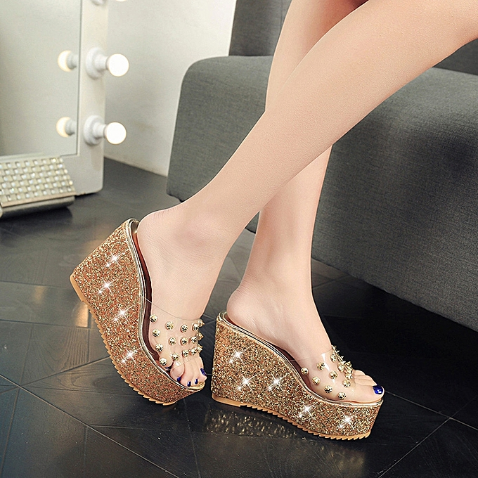 f0da460863e ... Bliccol High Heel Shoes Summer Transparent Platform Waterproof Sandals  Wedge Sandals Women Slippers -Gold ...
