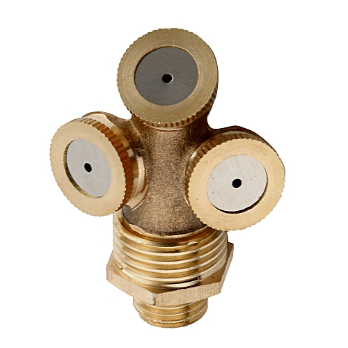 Lienine_3 Hole Brass Hose Pipe Fitting Garden Tap Spray Nozzle Mist For Cooling