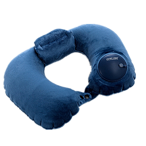 Hand Pressure Inflatable Crystal Velvet Neck Pillow-Navy Blue