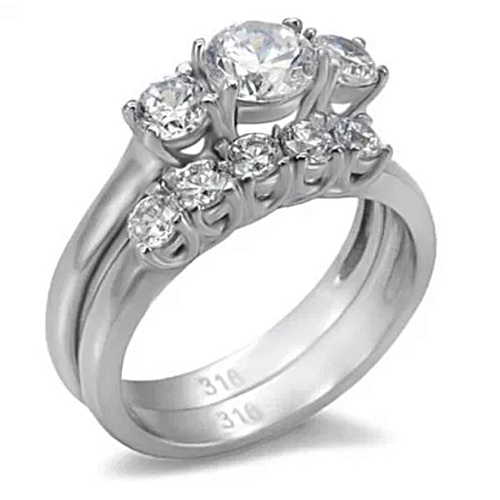BLiNG Ladies 2 Piece Stainless Steel Cubic Zirconia Wedding Engagement Ring Set