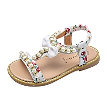 8532a14f Dadaliak Store Kids Baby Girls Sandals Bowknot Pearl Crystal Roman Sandals  Princess Shoes