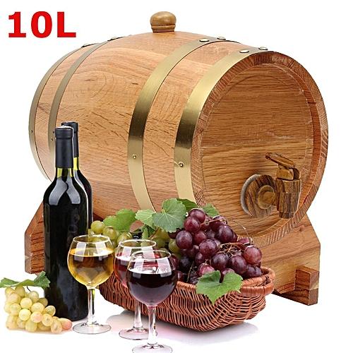 10L Vintage Oak Wood Barrel Keg For Wine Spirits Whisky Port Liquor French Toast
