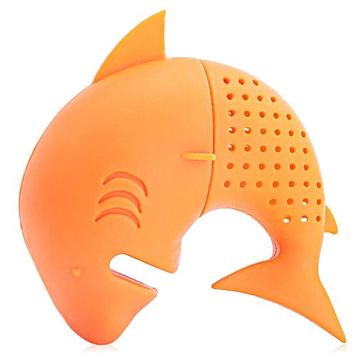 Colorful Novelty Silicone Shark Shape Mesh Tea Infuser Reusable Strainer Filter - Orange Red