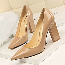 d7a994d10c7 Women Fashion Simple Thick With High Heel Shallow Mouth Pointed Sexy  Nightclub Was Thin Satin Single