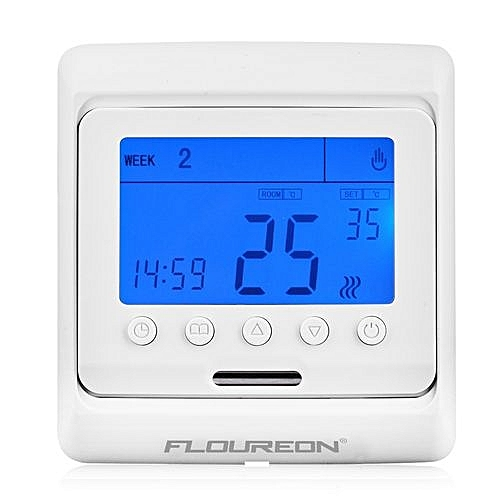 Floureon Digital Temperature Controller Thermostat LCD Display Blue - White