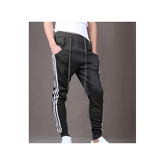 e7de3de85d1bd Mens Slim Fit Sport Pants Long Trousers Tracksuit Fitness Workout Joggers  Gym Sweatpants -black