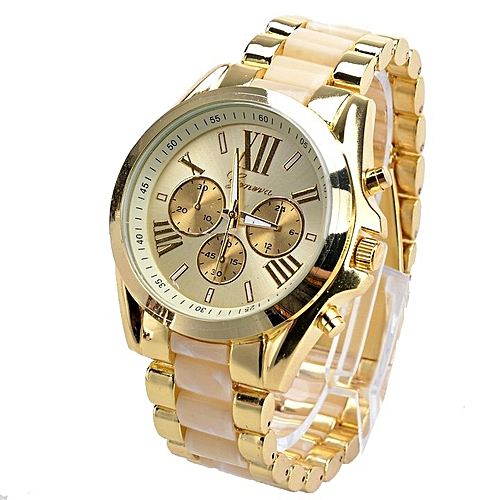 Fashion Menswear Quartz Full Steel Watch Women Watches Casual Dress Ladies Wrist Watch Gold Dial Alloy Watch (White)