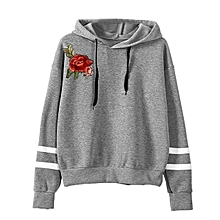 52d09203d55eaa TB Women Long Sleeve Embroidery Hooded Pullovers Fashionable Ladies Hoodie  Tops Gray