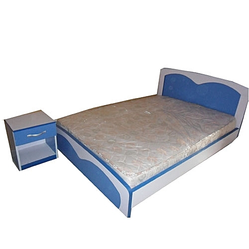 Classic Bed Blue & White With Haven Mattress 6 By 3.5 (Delivery In Lagos Only)