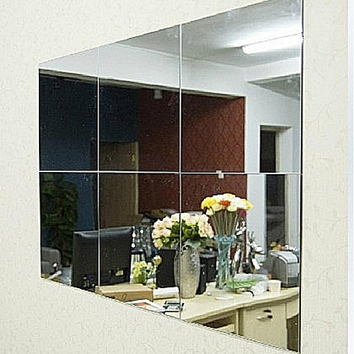 Flash Deal 16Pcs Bathroom Square Removeable Self-adhesi Ve Mosaic Tiles Mirror Wall S Tickers Home Decor - Intl