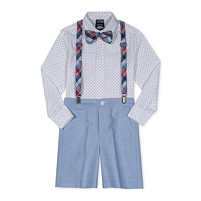 56123c6b9e6 Little Boys Suit Set 4-Piece Bow Tie, Suspenders & Shorts Blue Print Dot