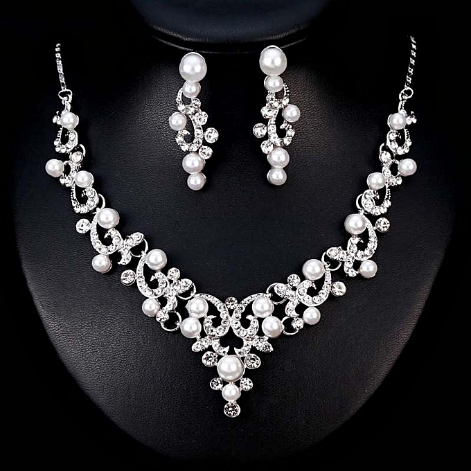 a3ea4cd7b7a Beauty Star Mall Women Girls Jewelry Set Pearl Rhinestone Pendant Necklace  + Earring Eardrop For Banquet