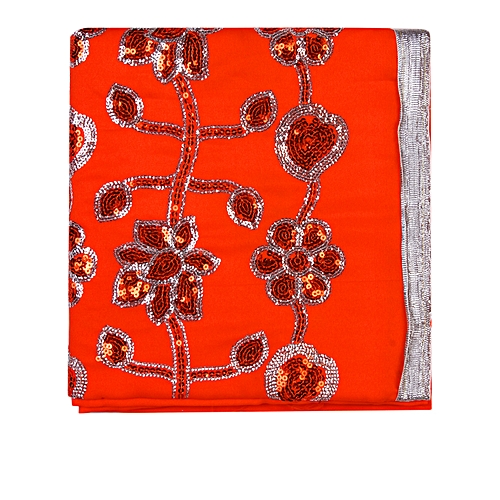 Indian Wear Fabric Plain And Patterned - Orange