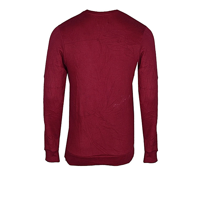 FARABALE CLOTHING Plain Crew Neck Sweatshirt - Wine  1e676c34d715