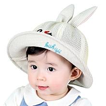 b4a99226b9a Hiaojbk Store Toddlers Baby Kids Stereoscopic Ears Plaid Sun Basin Cap  Children Fisherman Hat -Beige